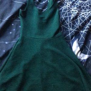 Green sleeveless skater dress